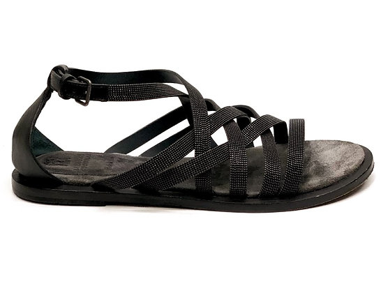 Brunello Cucinelli Monili Multi Strap Flats Sandals