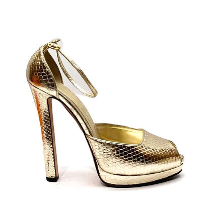 Alexander McQueen Gold Phyton Peep-Toe Shoes