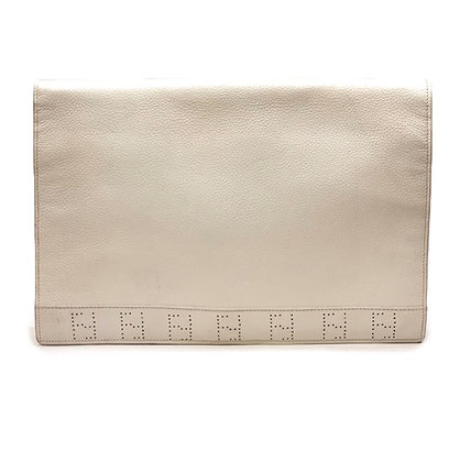 Fendi Vintage White Leather Clutch