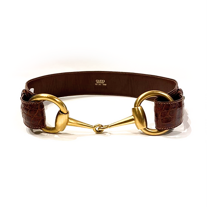 Gucci Brown Crocodile Leather Horsebit Belt
