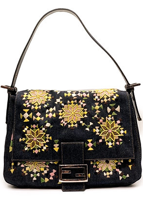 Fendi Blue Denim Beaded Mama Baguette Bag