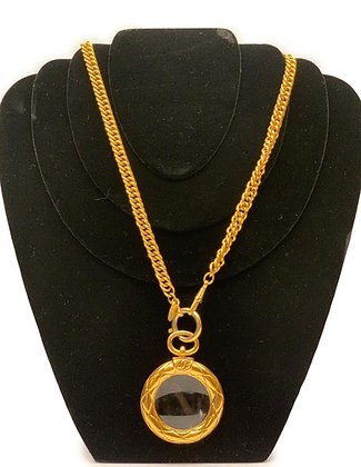 Chanel Vintage Chanel Gold Tone Round Magnifying Glass Chain Necklace