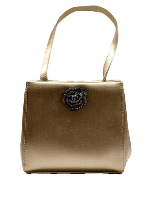 Chanel Rare CC Crystal Rhinestone Camellia Flower Beige Satin Mini Bag