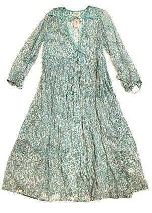 Blu Green Flowers Cotton Tunic Dress