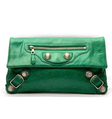 Balenciaga Green Motorcross Leather Envelope Clutch
