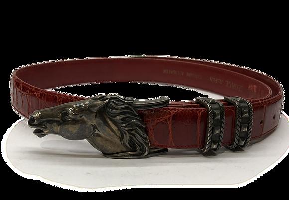 George Aspen Alligator Horse Head Sterling Silver Buckle