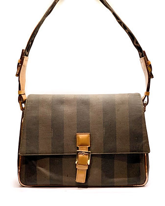 Fendi Wide Strap Print Canvas/Leather Two-Way bag