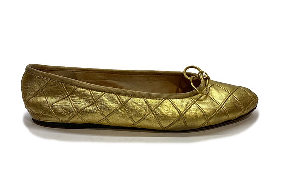Chanel Gold Vintage Flats