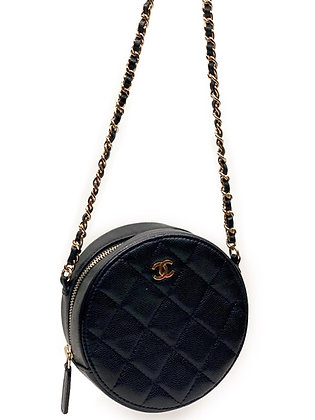 Chanel Caviar Quilted Round Mini Clutch Bag