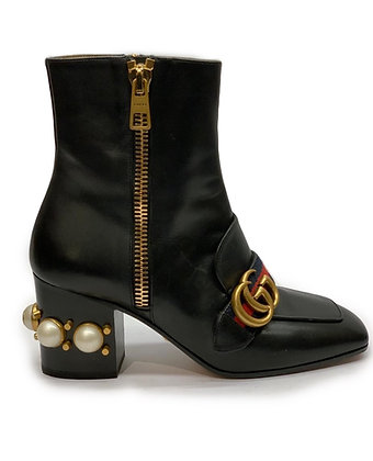 Gucci A/W 2016 Peyton Black Leather Pearl Heel GG Ankle Boots