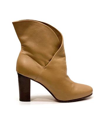 Celine Nib Caramel Leather Heritage Wrap Booties