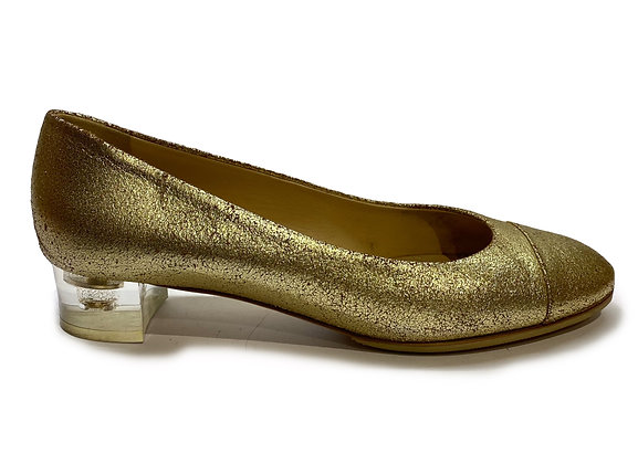 Chanel Metallic Gold Leather Ballerina shoes