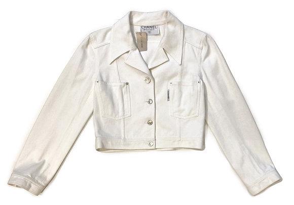 Chanel White Vintage Denim Jacket