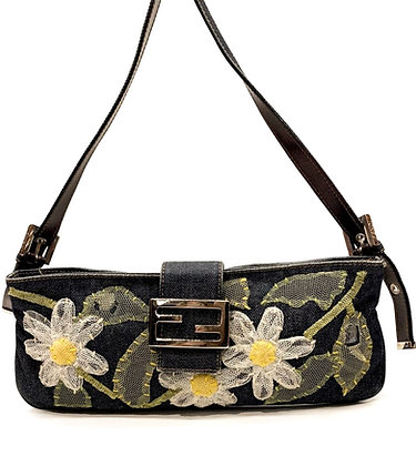 Fendi Daisy Embroidered Baguette