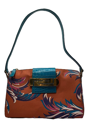 Gianni Versace Baroque Print Satin Shoulder Bag