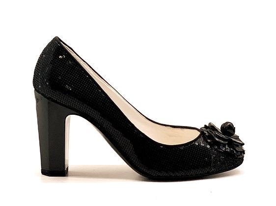 Chanel Black Sequins Camelia Shoes