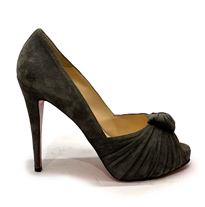 Christian Louboutin Grey Suede Lady Gres Peep-Toe Pumps