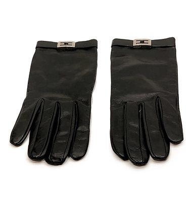 Fendi Black Leather Gloves