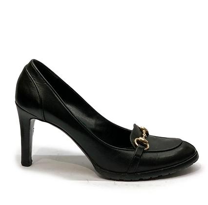 Gucci Black Horsebit Leather Loafers Heels