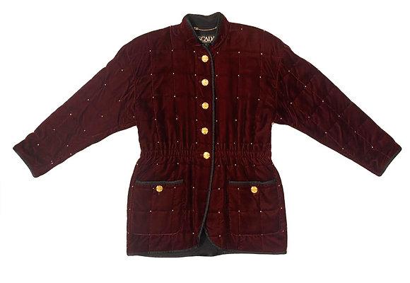 Escada Vintage Bordeaux Velvet Studded Jacket