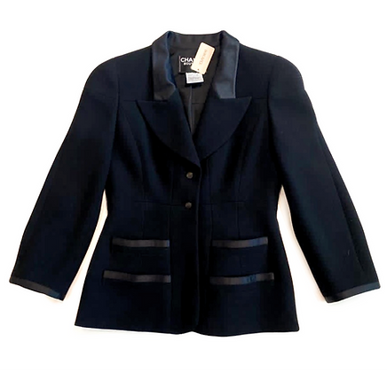 Chanel Black Wool & Silk Jacket 1997 Autumn Collection