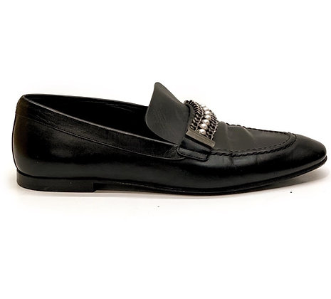 Chanel Pearl Loafers Chain Black Leather Shoes CC Heel Slip-On