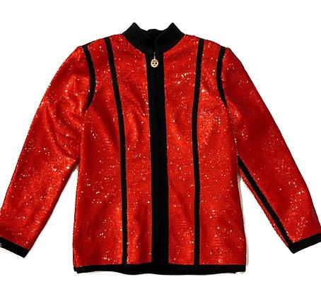 Chanel Runway Vintage Sequin Black Trim Scuba Jacket 1991 Spring Collection