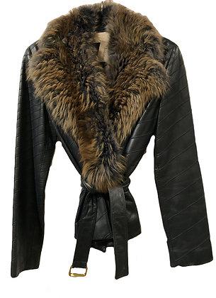 Valentino Leather Fur Blue Jacket