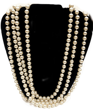 Chanel Vintage Classic Long Strand of Faux Pearls Necklace