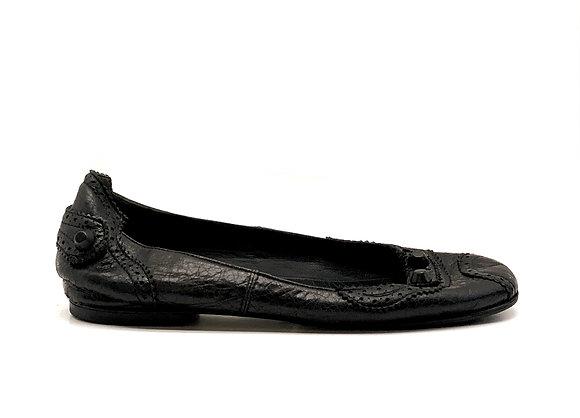 Balenciaga Black Leather Studded Brogue Ballet Flats