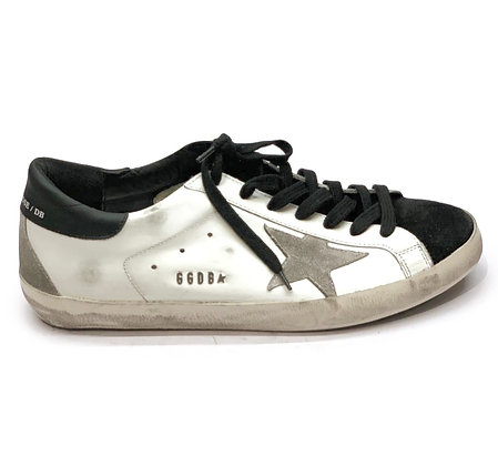 Golden Goose White Leather/Grey Star Mens Sneakers