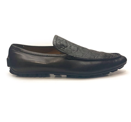 Gucci Black Monogram Leather Loafers For Men