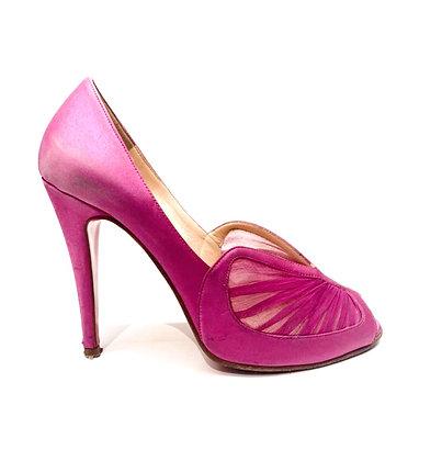 Christian Louboutin Fuccia Silk Peep-Toe Shoes