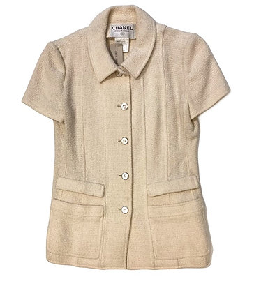 Chanel Vintage Tweed Short Sleeve Blazer 1998 Spring Collection