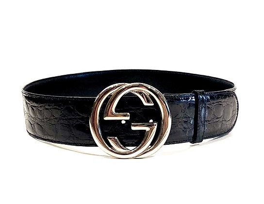 Gucci Black Crocodile Leather GG Buckle Belt