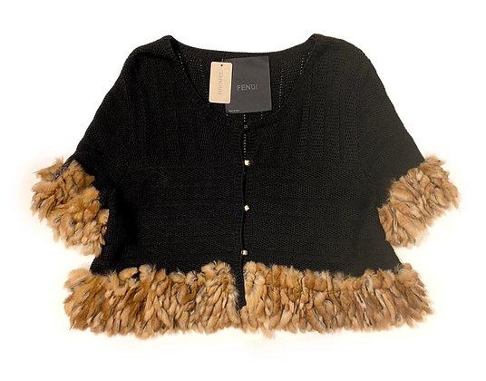 Fendi Black Cotton & Fur Vest