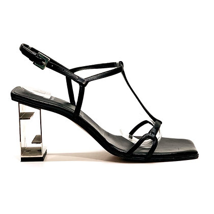 Fendi Black Leather Square-Toe Metal Heel Sandals