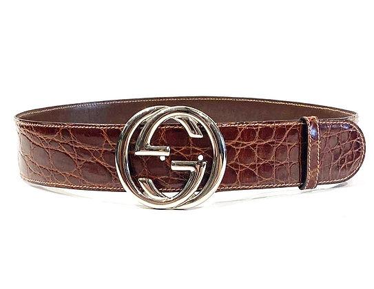 Gucci Brown Crocodile Leather GG Buckle Belt