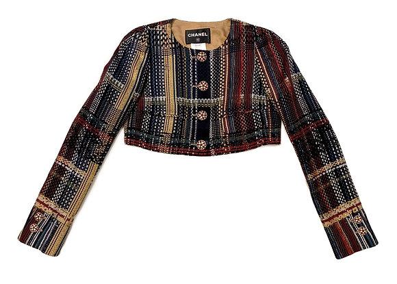 Chanel Tweed Crop Blazer With Gripoix Buttons