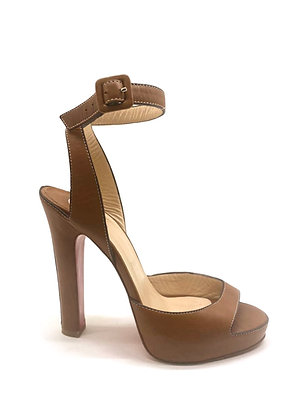 Christian Louboutin Caramel Leather Ankle Strap Sandals