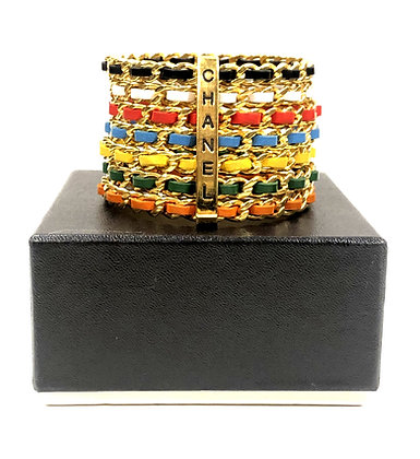 Chanel Multicolor Leather Chain Bangle