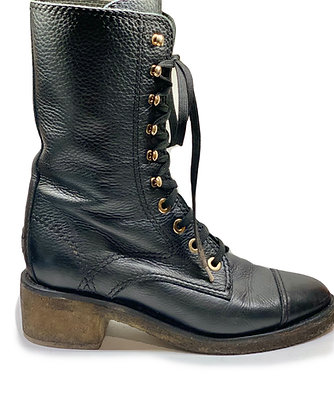 Chanel CC Leather Combat Boots