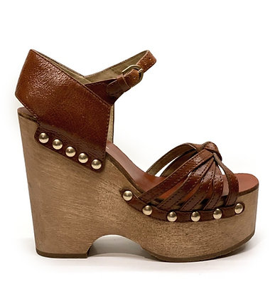 Chanel Wooden Studded Platform Sandals