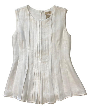 100% Capri White Linen Pleated Top