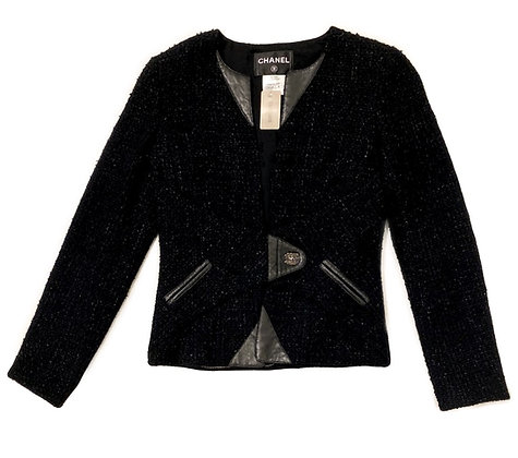 Chanel Tweed Leather Blazer