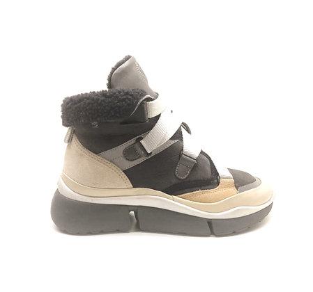 Chloe Sonnie High-Top Lamb Fur-Lined Sneakers
