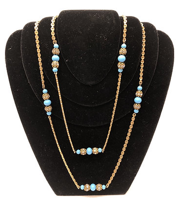 Antique Cristal Faux Turquoise and Gold-Tone Necklace