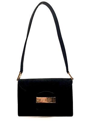 Fendi Black Suede Gold Tone Lock Bag
