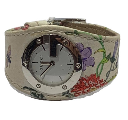 """Gucci """"Flora"""" Stainless Steel Floral Print Leather Wristwatch"""