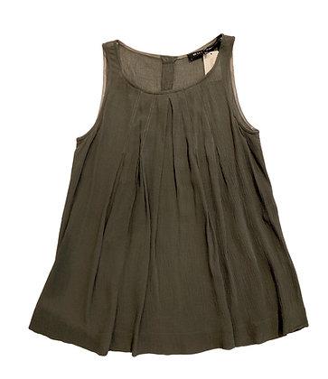 Barbara Bui Dark Green Pleated Silk Blouse